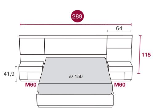 Medidas del dormitorio de matrimonio con el cabezal Toronto 115