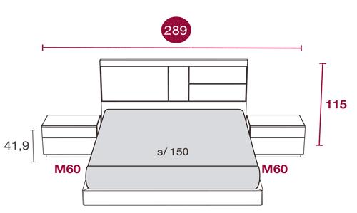 Medidas del dormitorio moderno con el cabecero de cama Aurora 132