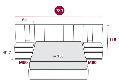 Medidas del dormitorio moderno del cabecero de cama Elba 126