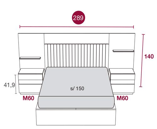 Medidas del dormitorio moderno con el cabecero Daytona 108