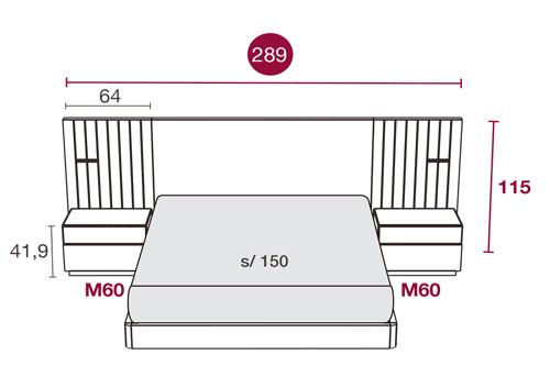 Medidas del mobiliario de dormitorio con el cabecero Austin 104