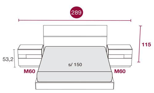 Medidas del mobiliario del dormitorio con el cabecero de cama Havana 131
