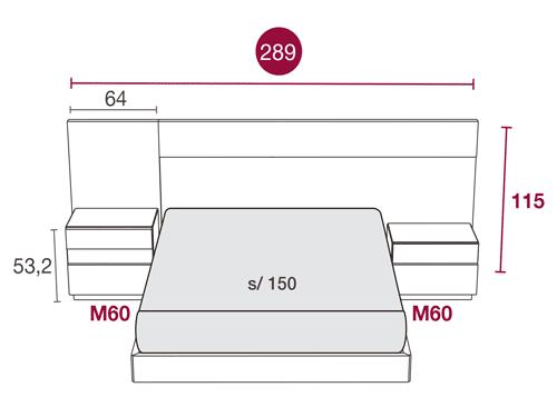 Medidas del mobiliario de matrimonio con el cabecero Miami 120