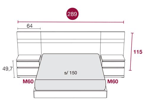 Medidas del mobiliario de matrimonio con el cabezal California 124