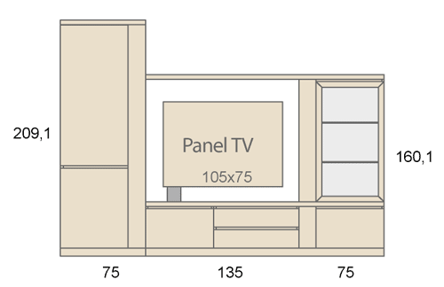 Medidas del mobiliario del salón con un panel tv giratorio D27