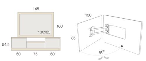 Medidas del mueble para la televisión 54