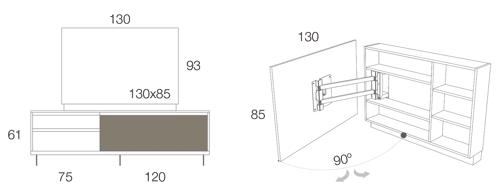 Medidas del mueble para la televisión giratorio 52