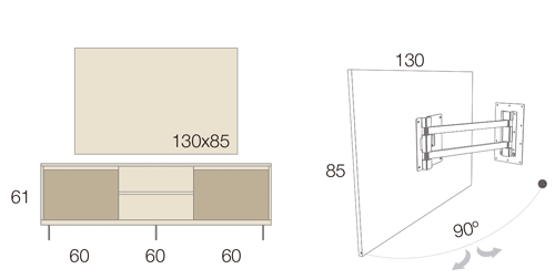Medidas del mueble TV giratorio 50