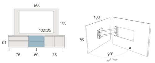 Medidas del mueble TV con patas metálicas 53