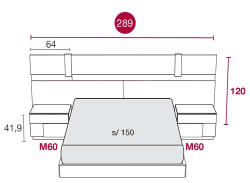 Medidas de los muebles del dormitorio con el cabecero Florida 113