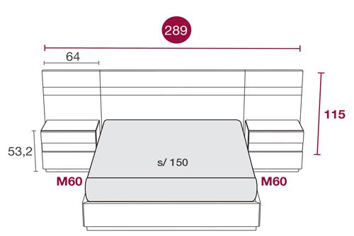 Medidas de los muebles del dormitorio del cabecero Texas 125
