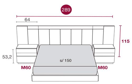 Medidas de los muebles del dormitorio con el cabecero Tucson 118