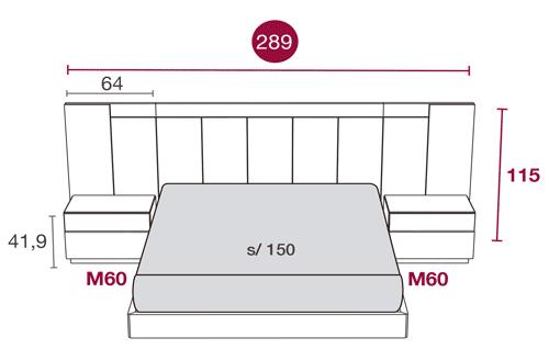 Medidas de los muebles del dormitorio con el cabezal Tucson 117