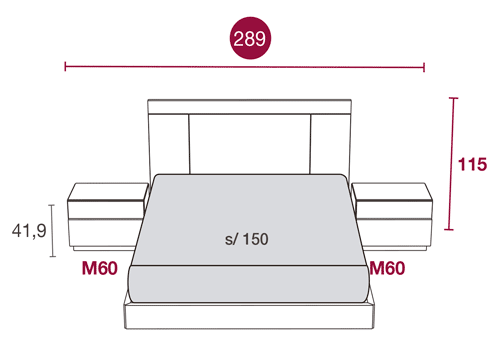 Medidas de los muebles del dormitorio de matrimonio con el cabezal Bogota 133