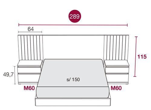 Medidas de los muebles de la habitación de matrimonio con el cabezal Alabama 106