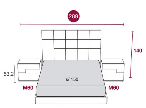 Medidas de los muebles de la habitación moderna con el cabecero Minerva 130
