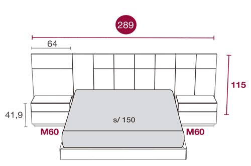 Medidas de los muebles de matrimonio con el cabezal Hawai 109