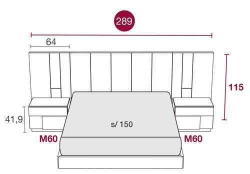Medidas de los muebles modernos de dormitorio con el cabecero Colorado 127