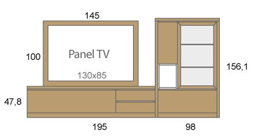 Medidas de los muebles de salón con un panel TV giratorio D03