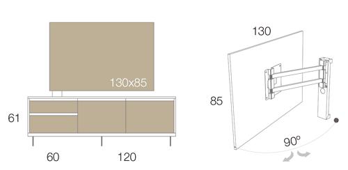Medidas del panel TV giratorio 51