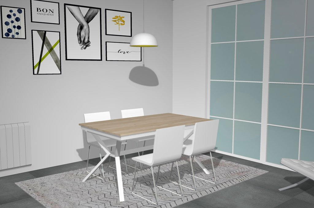 Mesa de comedor extensible modelo X con las patas en color blanco