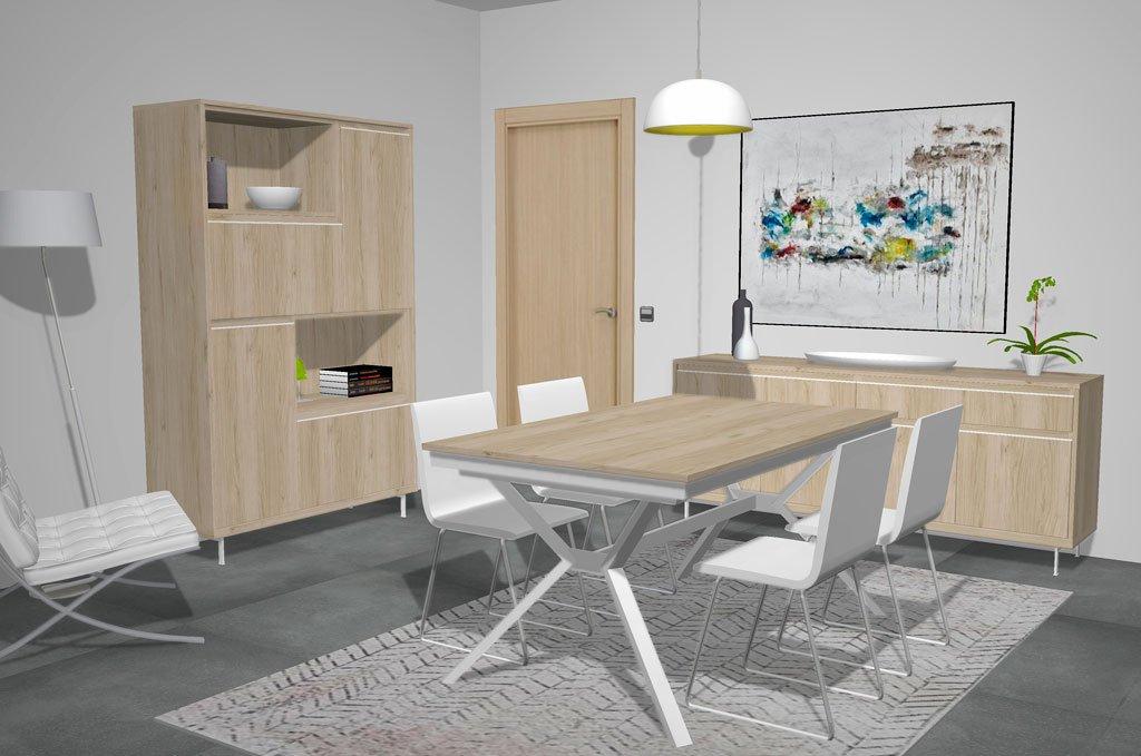 Salón comedor moderno con aparadores y mesa extensible