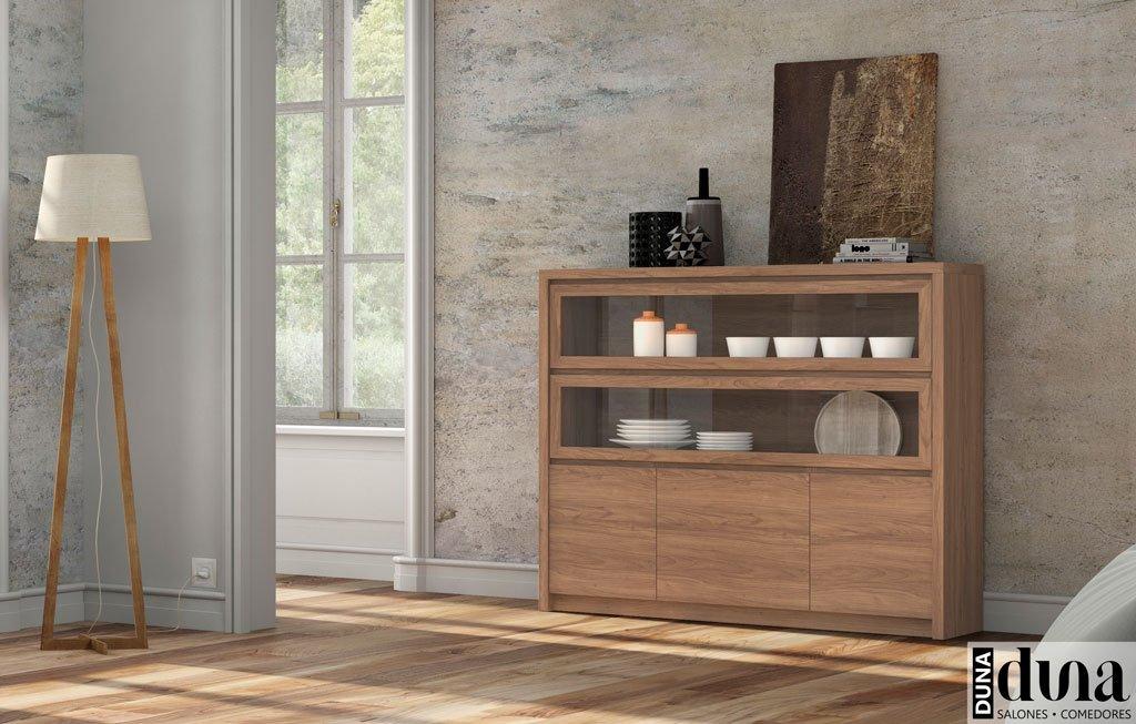 Mueble aparador en color Nogal con doble vitrina abatible