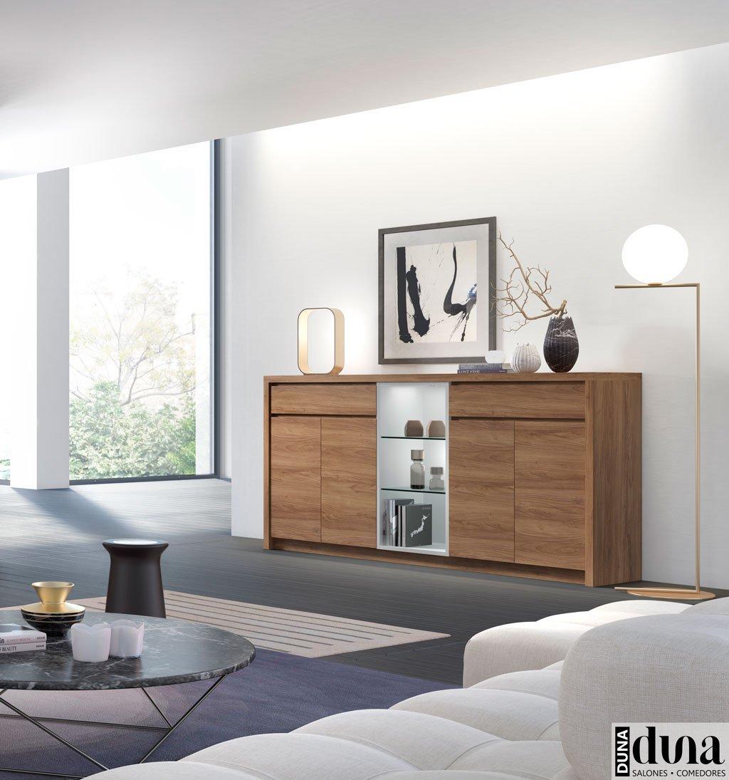 Aparador con estantes decorativos que tienen luz led D03
