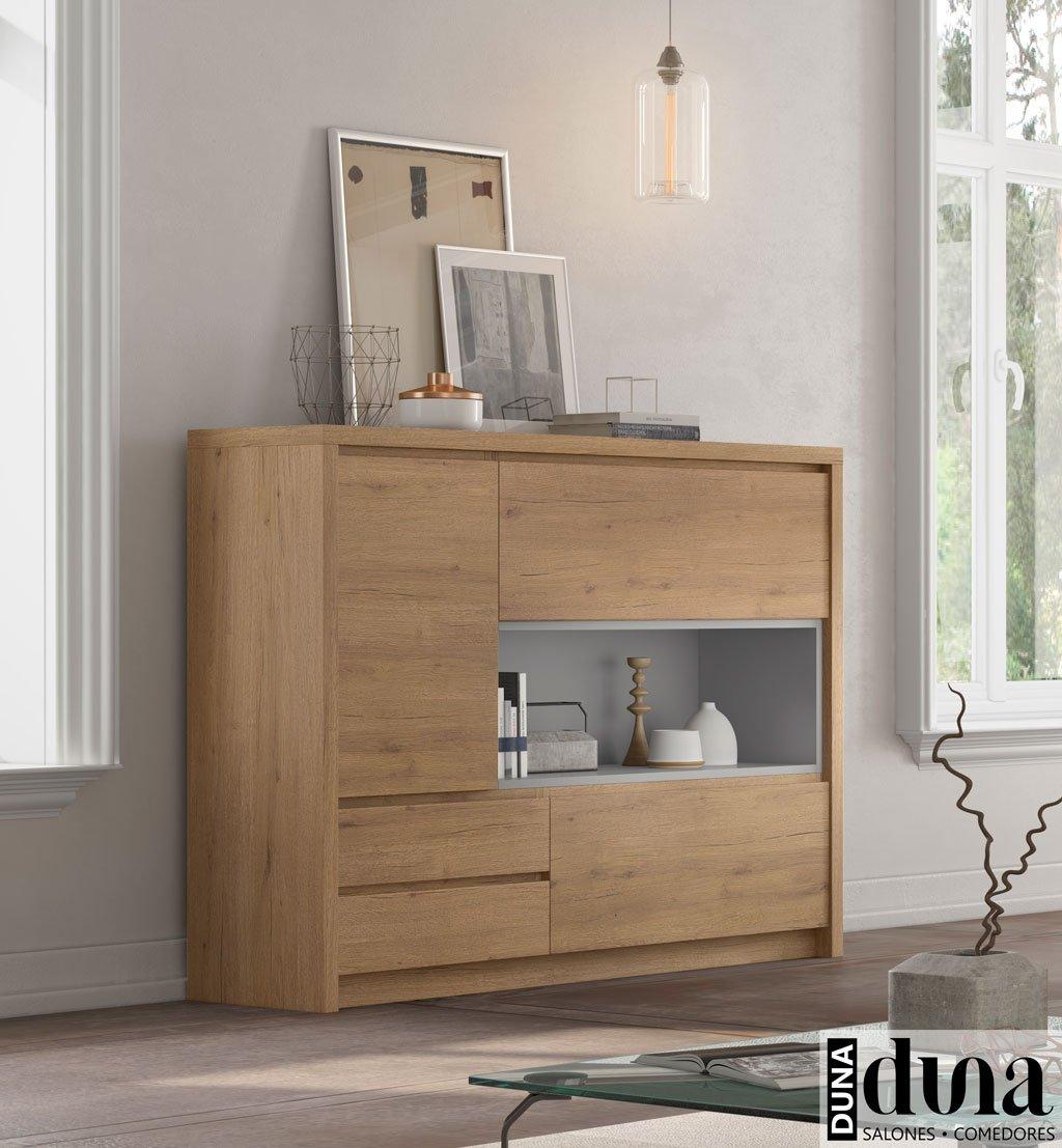 Mueble aparador con hueco detalle en color Gris Claro