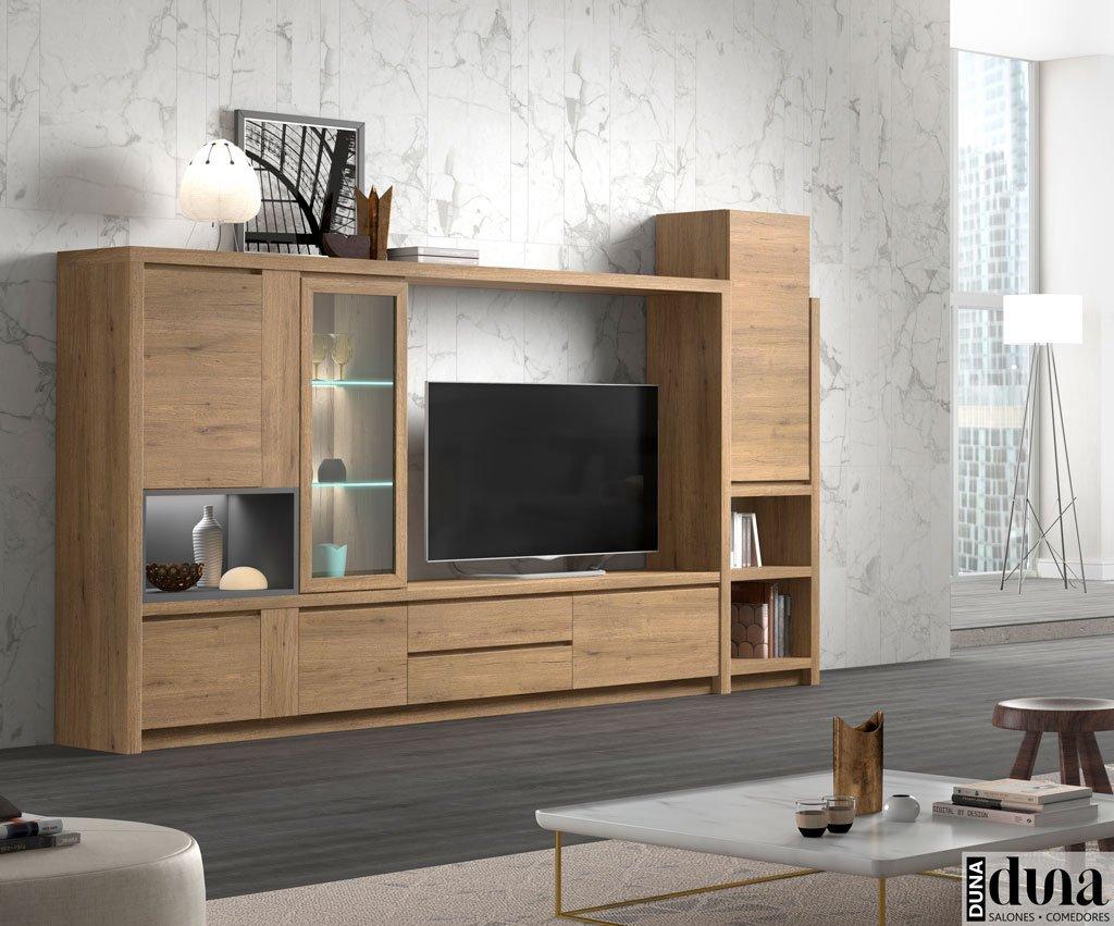 Mueble para el salón con una vitrina con luz interior