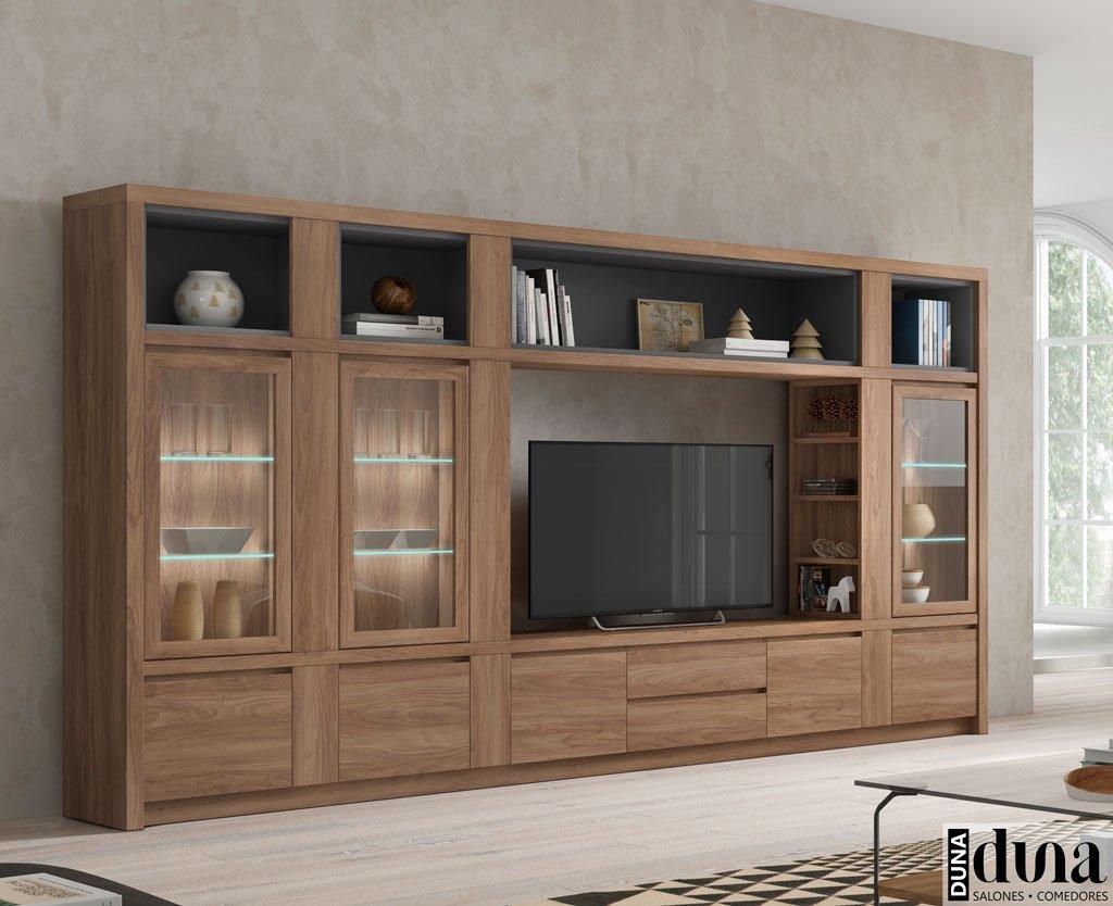 Mueble de salón comedor muy completa con vitrinas verticales