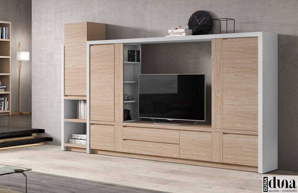 Mueble para el salón con marco exterior en color gris claro