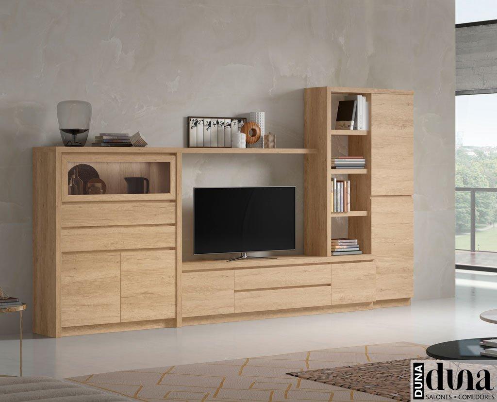 Composición de salón con vitrina horizontal y mueble TV