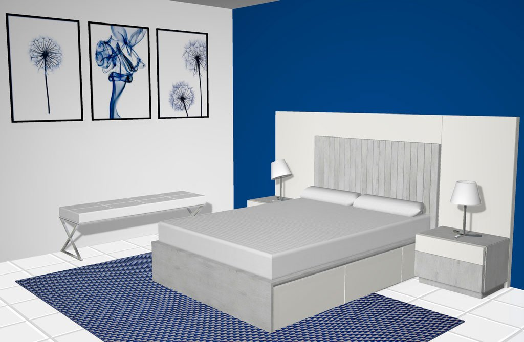 Habitación de matrimonio con la cama con cajones inferiores