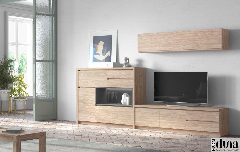 Mobiliario para el salón en color Arce con detalle Antracita