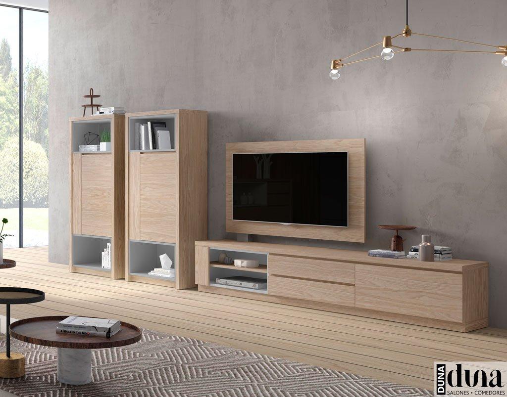 Mobiliario de salón con un mueble TV y panel giratorio televisión