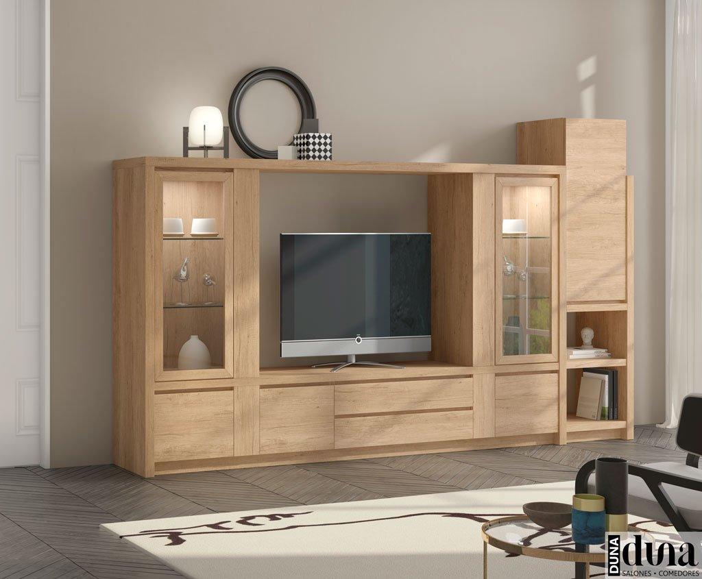 Conjunto de muebles para el salón con vitrinas iluminadas