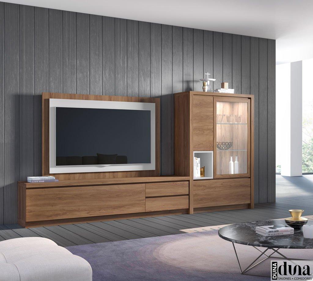 Mueble de salón con panel TV giratorio y vitrina D03