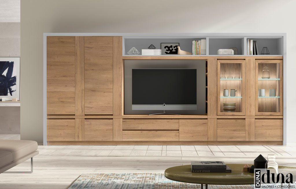 Muebles salón moderno en dos colores combinados