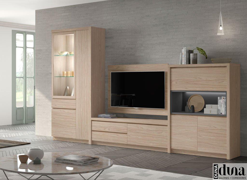 Muebles de salón en color Arce con panel TV giratorio