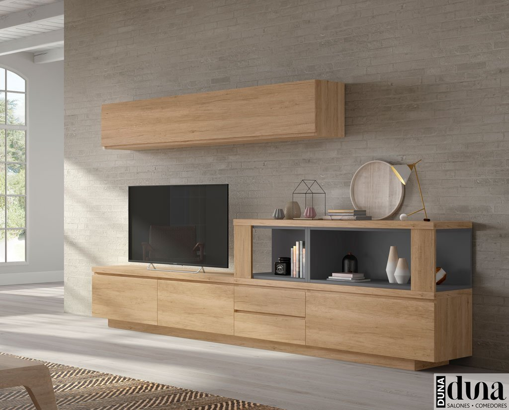 Composición de salón muy actual con espacio decorativo