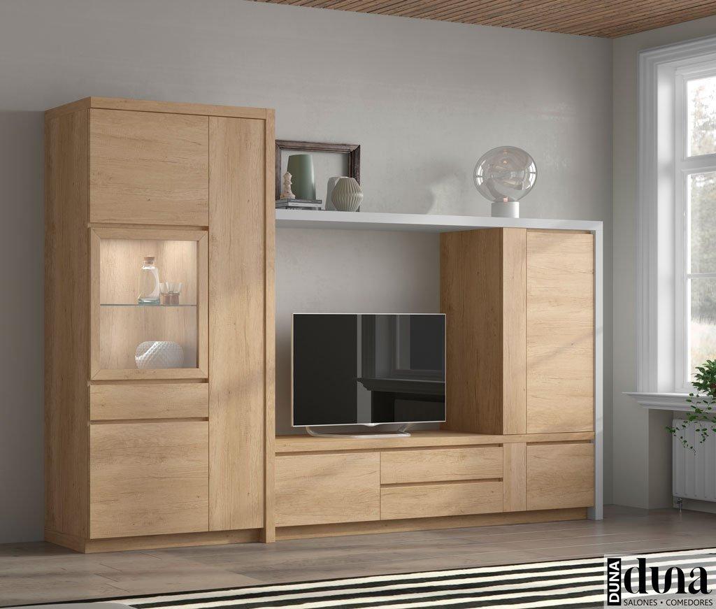 Muebles de salón con marco exterior en color gris claro