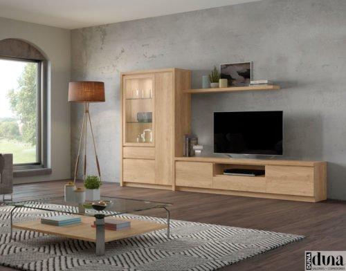 Salón compuesto por un mueble TV y una vitrina