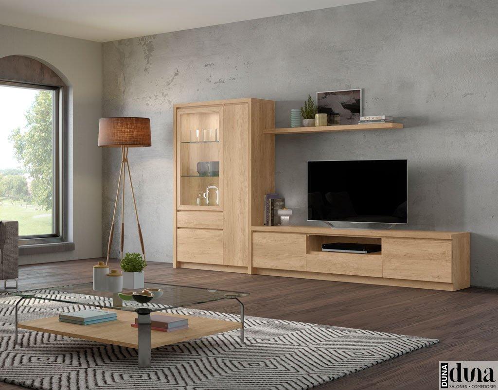Salón compuesto por un mueble TV y una vitrina D02