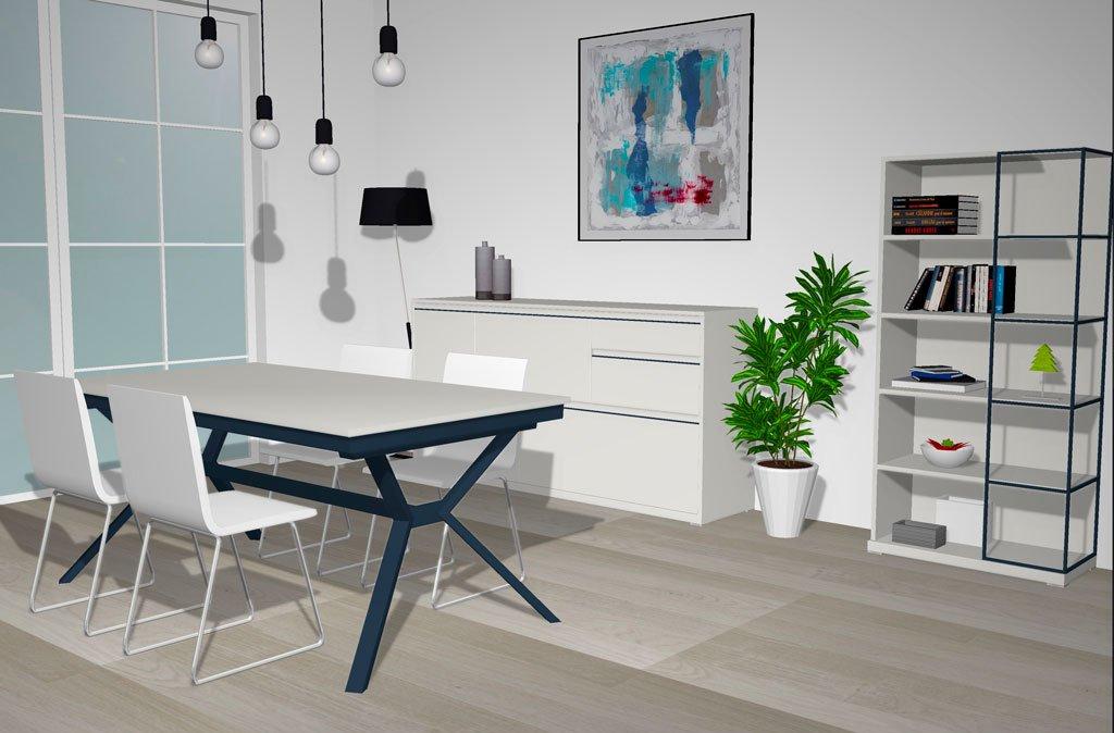 Los muebles en color Blanco White, dan luminosidad al comedor