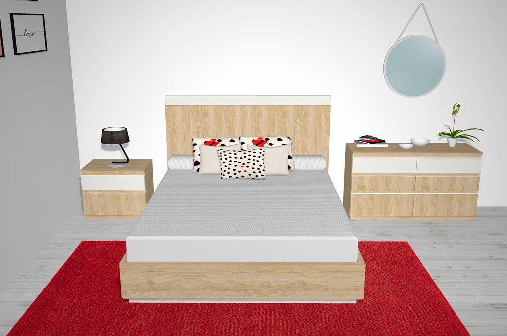 Un dormitorio de matrimonio con un diseño muy actual