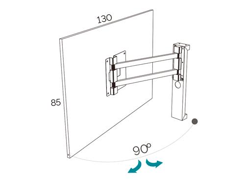 Medidas del panel TV giratorio modelo 101 del catálogo Duna