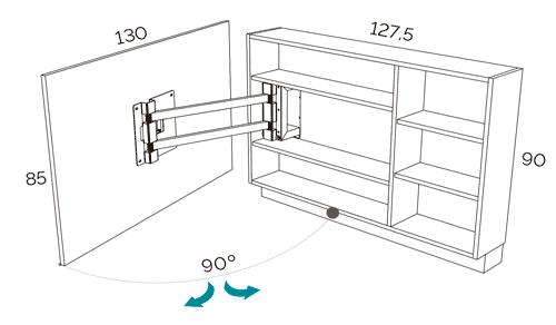 Medidas del panel TV giratorio modelo 103 del catálogo Duna