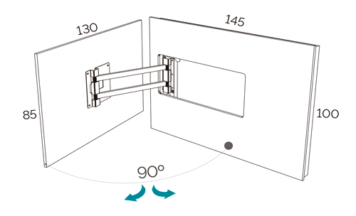 Medidas del panel TV giratorio modelo 105 del catálogo Duna