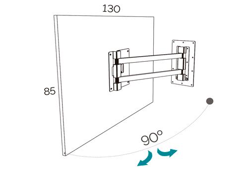 Medidas del panel TV giratorio modelo 115 del catálogo Duna